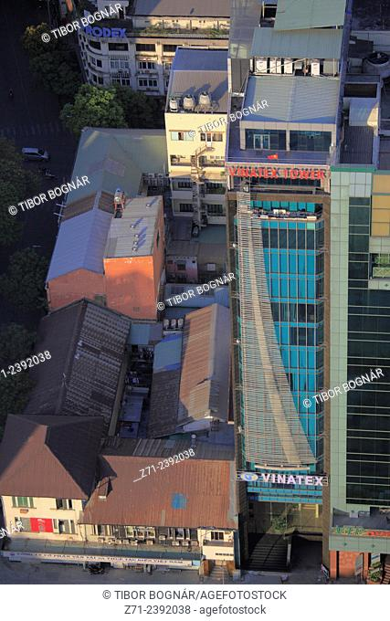 Vietnam, Ho Chi Minh City, Vinatex Tower, rooftops, aerial view,
