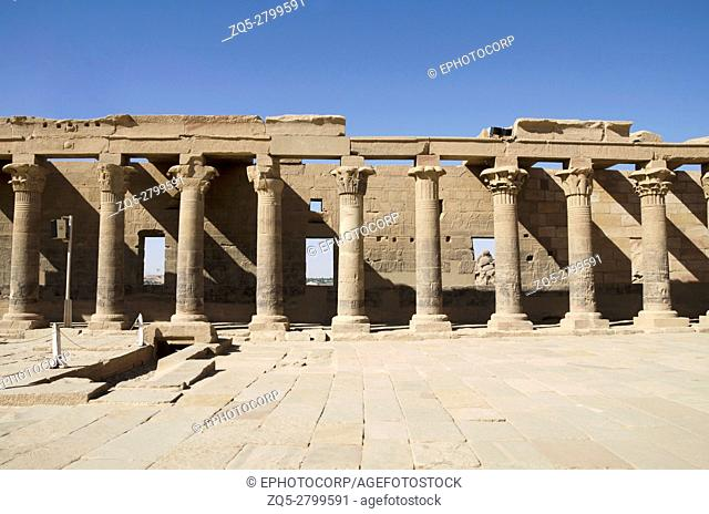 Partial view of Philae temple. Philae Temple was dismantled and reassembled (on Agilika Island about 550 meters from its original home on Philae Island) before...