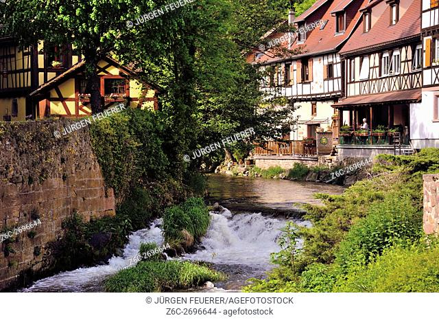 Old picturesque village Kaysersberg, village of wine, eastern France, border to Germany, commune of department Haut-Rhin