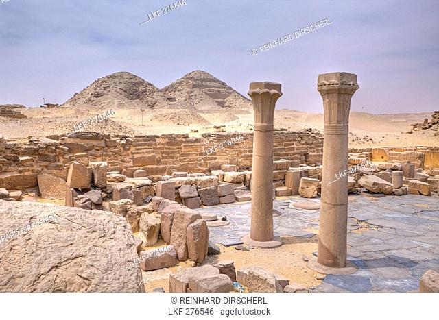 Mortuary Temple of Pharaoh Sahure with Pyramids of Niuserre and Neferirkare, Egypt, Abusir