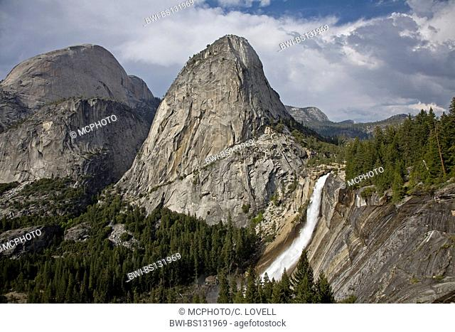 WHITMAN DOME and NEVADA FALLS which drops 594 feet into the YOSEMITE VALLEY, USA, California, Yosemite National Park