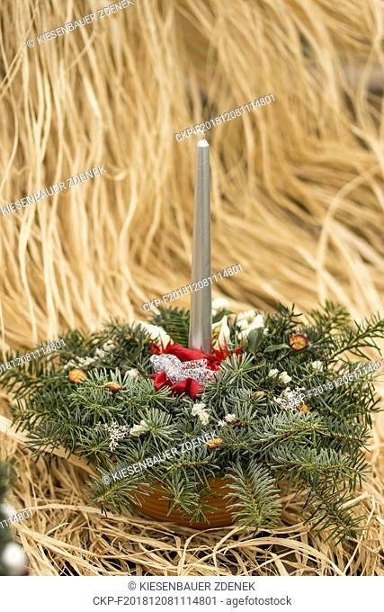 Christmas, Christmas decoration, Christmas candlestick, coniferous branches, natural Christmas decoration, , Czech Republic on 28th November 2017 (CTK Photo/...