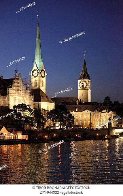 Switzerland, Zurich, Fraumünster and St Peter churches