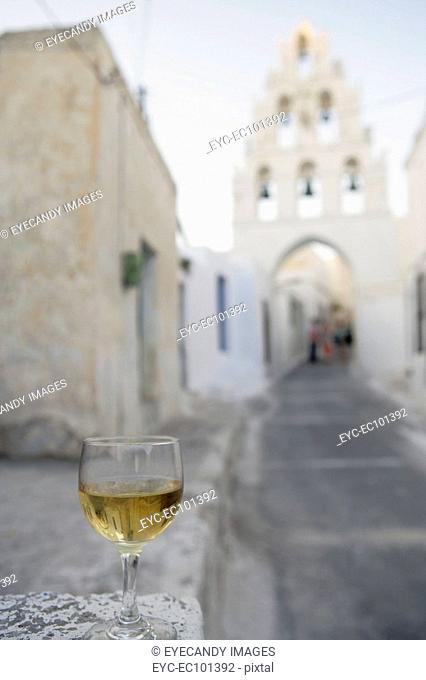 Wineglass with church in the background
