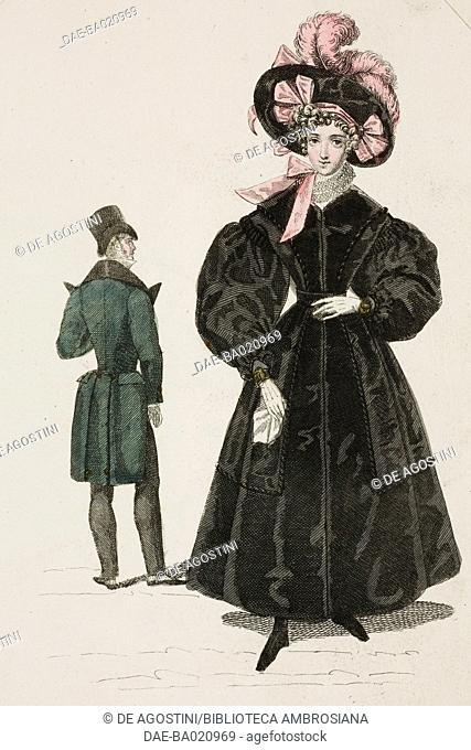 Woman wearing a large black coat and matching hat adorned with pink ribbons and feathers, and a man wearing a green coat with a wide collar and barrel in the...