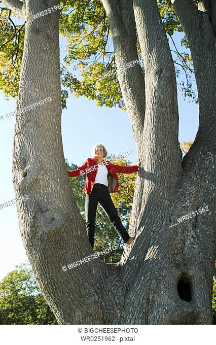 Woman standing in crook of tree