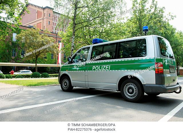 A police vehicle seen on the driveway to the festival hall prior to the opening of the Bayreuth Festival inBayreuth,Germany, 25 July 2016