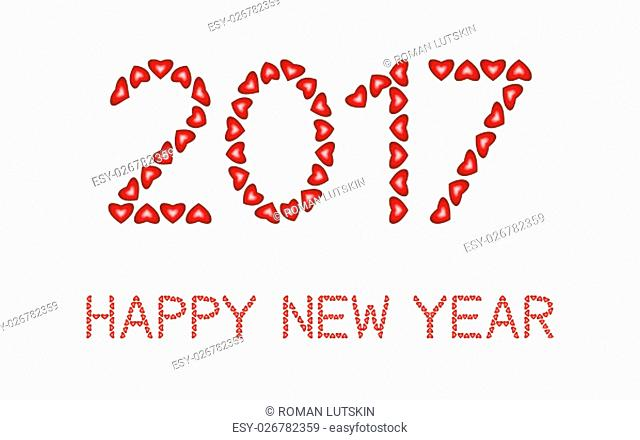 Happy New Year 2017 made from hearts on white background