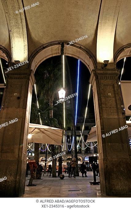 Arcade, Plaça Reial at night, Christmas lights, Barcelona, Catalonia, Spain