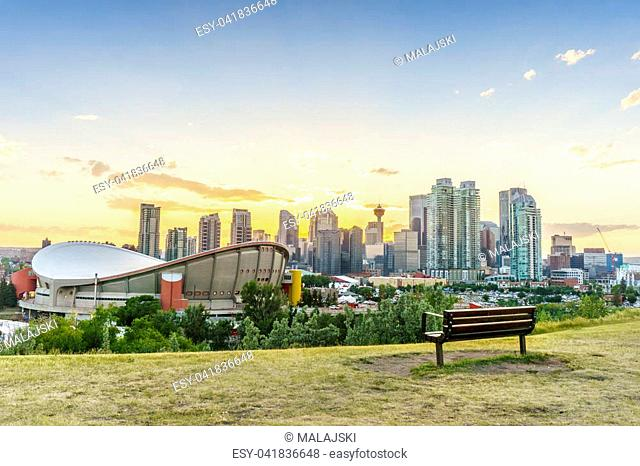 Downtown of Calgary at sunset during summertime, Alberta, Canada