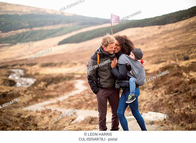 Family hiking, Fairy Pools, Isle of Skye, Hebrides, Scotland