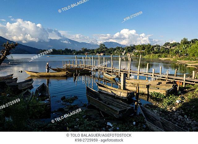 Canoes. Atitlan Lake. San Pedro Volcano. Santiago Atitlan, Solola Department, Guatemala