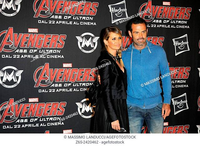 Ascanio Pacelli ; Katia Pedrotti ; celebrities; 2015;rome; italy;event; red carpet ; avengers, age of ultron