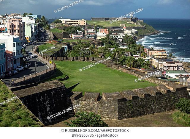 CALLE NORZAGARAY CASTILLO SAN CRISTOBAL BATTLEMENTS OLD TOWN SAN JUAN PUERTO RICO