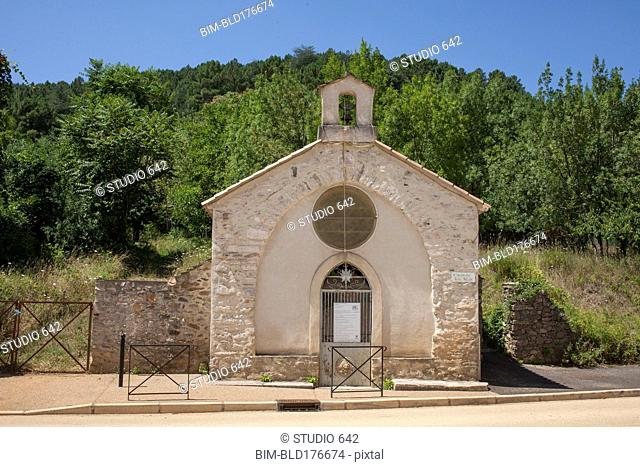 Stone church building in rural village
