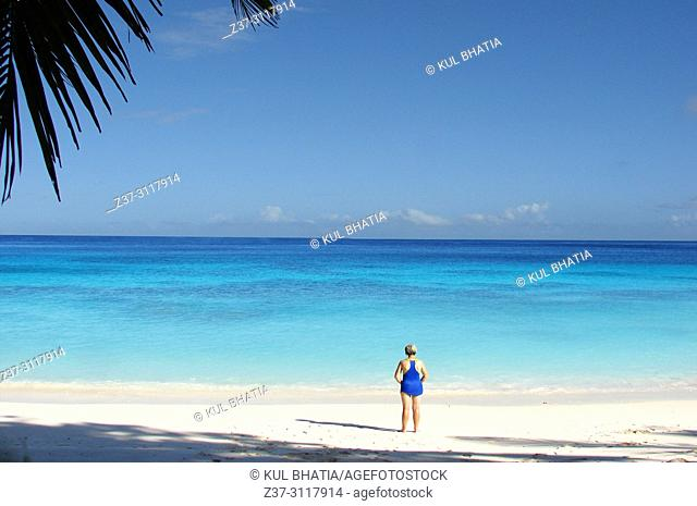 A blue-sky day at the beach in Mahe, the Seychelles. A woman in a blue bathing suit has the beach all to herself