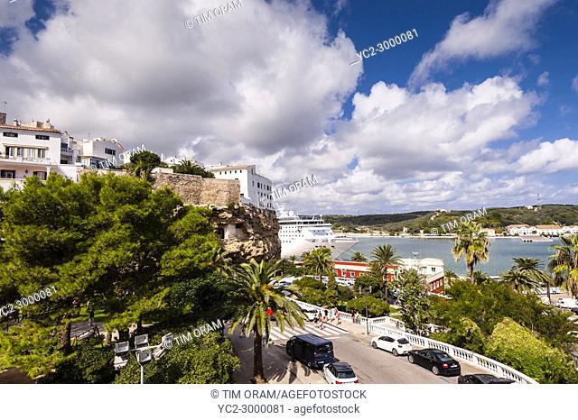 The port at Mahon , Menorca , Balearic Islands , Spain