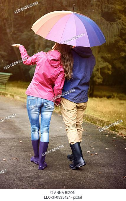 Walking in rainy day with my love is very relaxing. Debica, Poland
