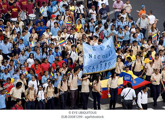 School children participating in a march in support of President Hugo Chavez along the Avenida Francisco de Miranda