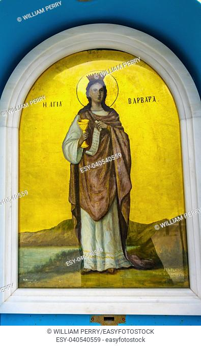 Saint Great Martyr Barbara Icon Saint Sophia of Acropolis Athens Greece. Sainit Sophia is the Greek Orthodox church at base of Acropolis