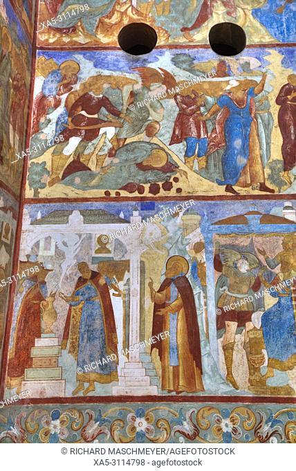 Frescoes, St John the Theologian's Gate Church, Kremlin, Rostov Veliky, Golden Ring, Yaroslavl Oblast, Russia