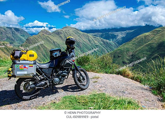 Touring adventure motorbike in the mountains of Colombia, Popayan, Cauca, Colombia