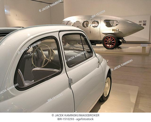 Fiat 500 in front of an Alfa 40, 60 HP Ricotti, Mitomacchina exhibition, Museum of Modern Art, MART, Rovereto, Italy, Europe