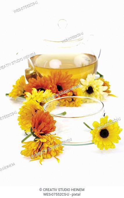 Calendula tea, close-up