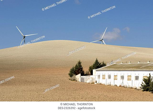 Spain, Andalusia, Malaga, Wind Turbines In The Countryside; Campillos