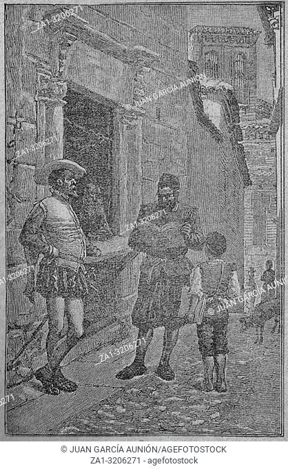 Badajoz, Spain - Dic 15th, 2018: Don Quixote novel scene. Illustration from Calleja Edition published in 1916. The author find in Toledo Don Quixote manuscript