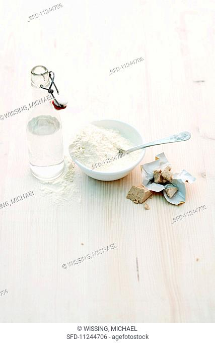 Ingredients for bread: yeast, flour and water
