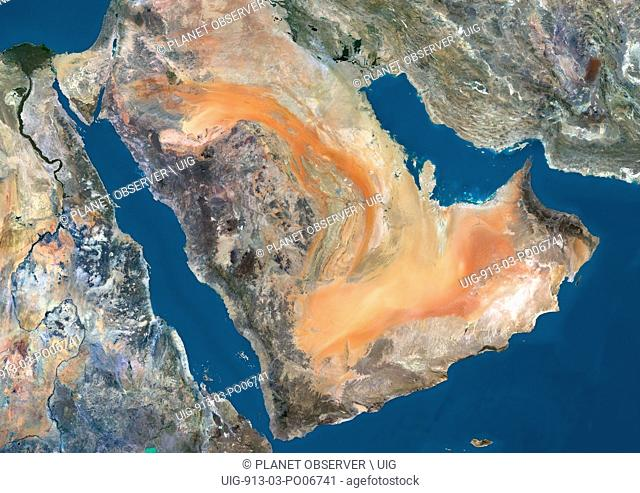 Satellite view of the Arabian Peninsula. This image was compiled from data acquired in 2014 by Landsat 8 satellite