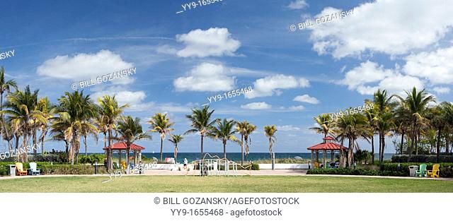 Beach Access Park Panoramic Composite Image - Lauderdale-by-the-Sea, Florida, USA