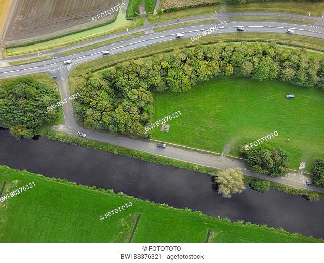 aerial view to rest area between road and waterway, Netherlands, Noordwijk aan Zee
