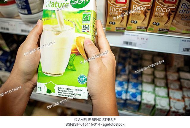Health food shop. French organic soy milk