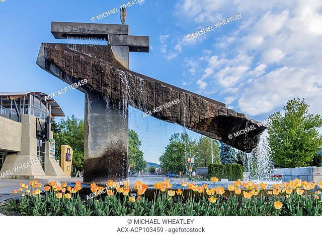 Fountain sculpture, Lake City Casino, Penticton, Okanagan Valley, British Columbia, Canada