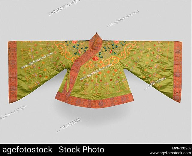 Theatrical jacket with designs from Buddhist jewelry. Period: Qing dynasty (1644-1911); Date: 18th century; Culture: China; Medium: Silk and metallic-thread...