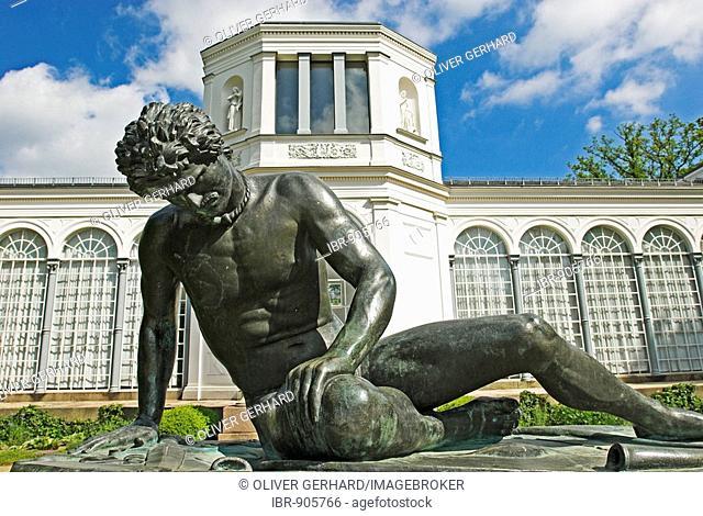 Sculpture in front of the orangery in the Schlosspark, castle gardens in Putbus, Ruegen Island, Mecklenburg-Western Pomerania, Germany, Europe