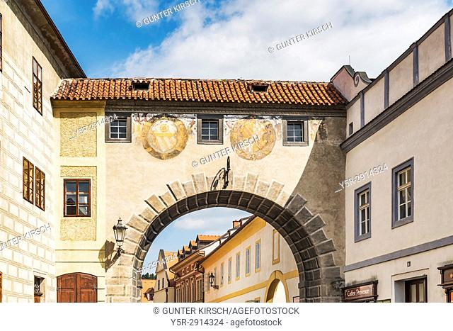 The connecting passage over the Latran alley between the castle and the monastery is located in the town of Cesky Krumlov on the River Vltava in Bohemia