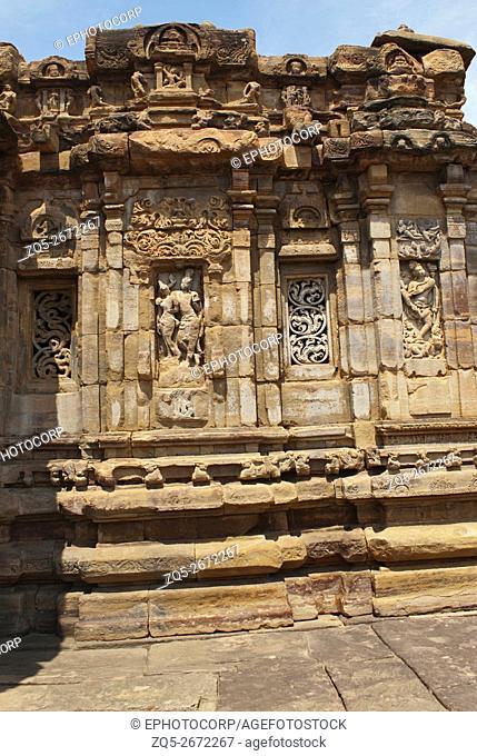 Figures of Shiva on the western wall, Virupaksha temple, Pattadakal temple complex, Pattadakal, Karnataka, India. On the left the first figure is of Shiva with...