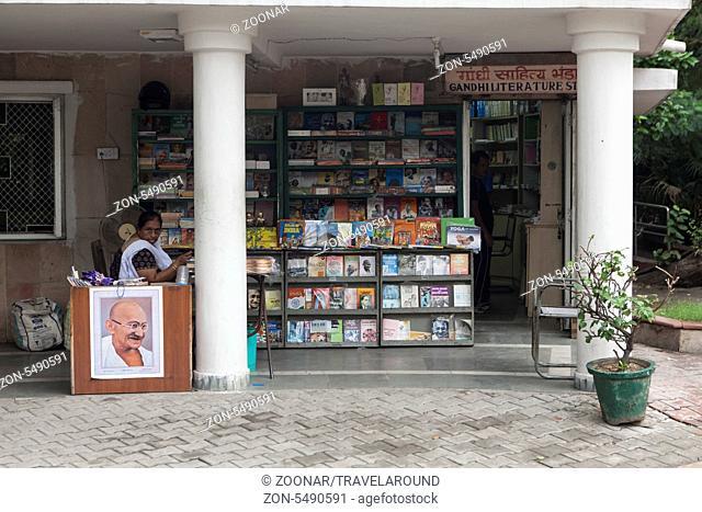 Buchladen, Raj Ghat, Dehli, Indien