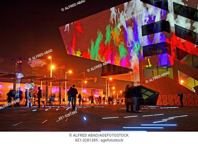 DHUB building, Les Glories square, artistic installation, Llum Bcn 19 festival, Poblenou district, Barcelona, Catalonia, Spain