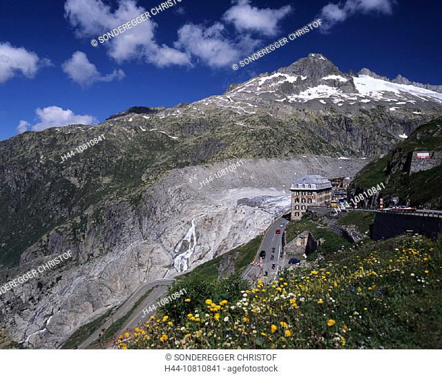 Alps, Hotel Belvedere, Furka, Furkapass, glacier, hotel, ice, moraine, mountain, mountains, nature, pass, Rhone Glac