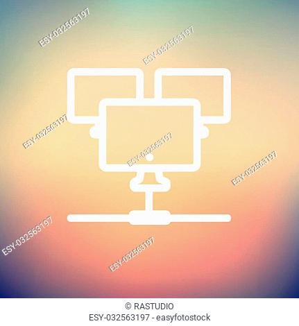Three touchscreen devices icon thin line for web and mobile, modern minimalistic flat design. Vector white icon on gradient mesh background