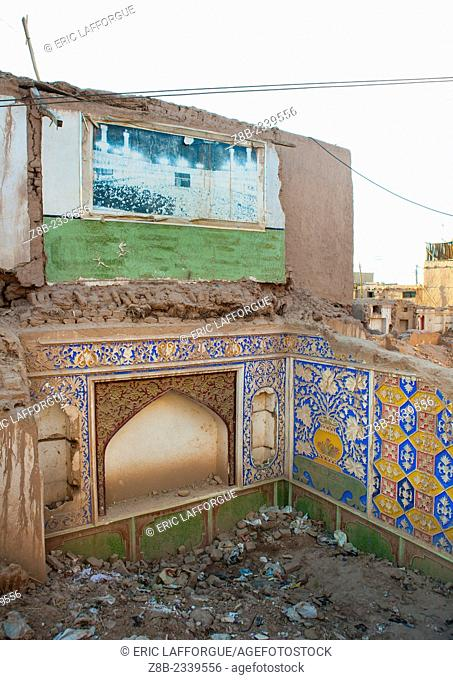 Old Mecca Poster In a Demolished house of The Old Town, Kashgar, Xinjiang Uyghur Autonomous Region, China