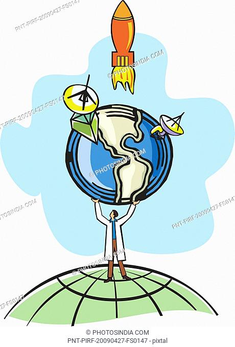 Conceptual image of scientist holding the earth