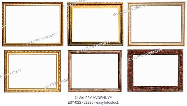 set of wide retro wooden picture frames