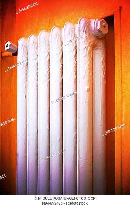 Old radiator heating system of hot water