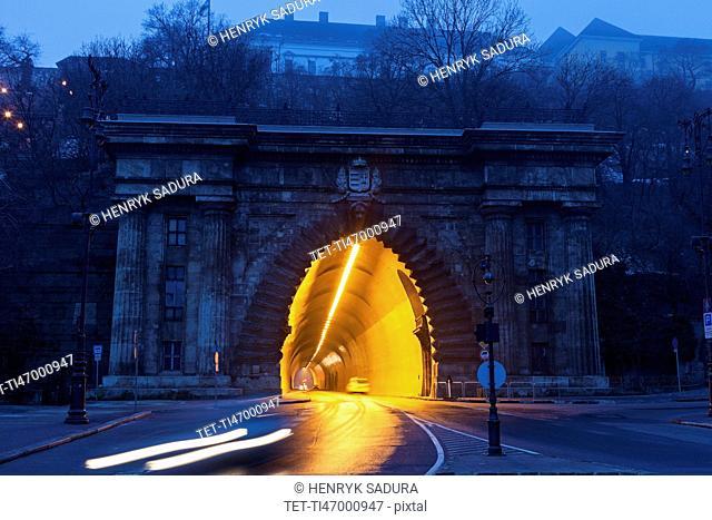 Illuminated end of Buda Castle Tunnel