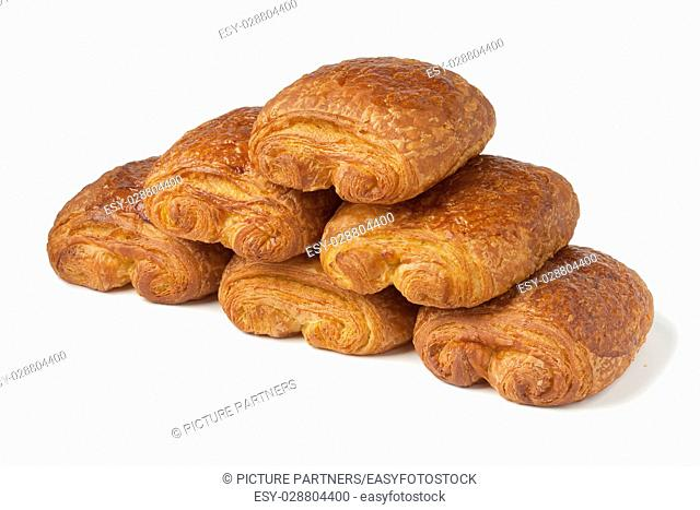 French chocolate croissants on white background